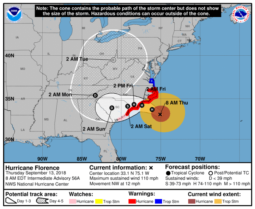 Hurricane Florence Path Cone 09.13.18 8am
