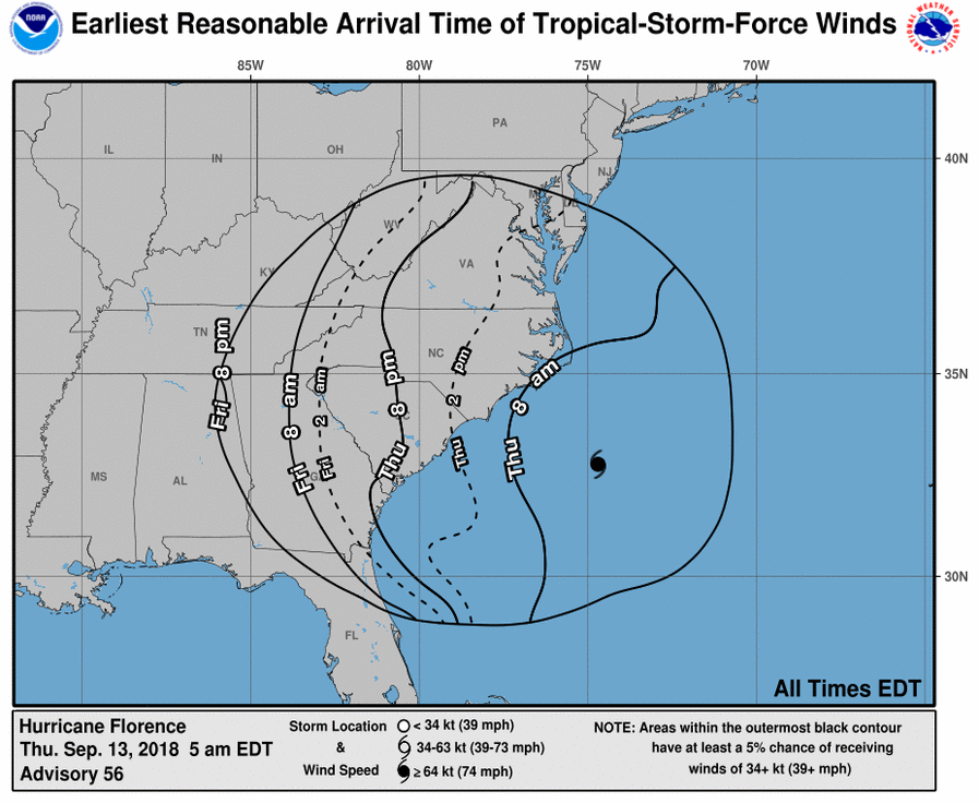 Hurricane Florence Wind Arrival Times 09.13.18 8am