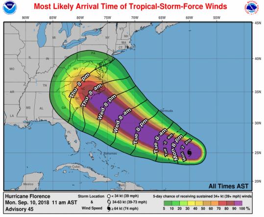 NOAA NWS Hurricane Florence Winds 09.10.18 1201pm
